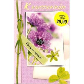 Nekupto Přání k narozeninám fialové kytky