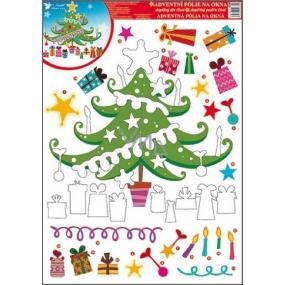 Okenní fólie bez lepidla adventní kalendář vánoční stromek 42 x 30 cm