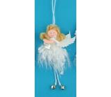 Anděl hebký s rolničkou na zavěšení č.3 12 cm