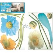 Room Decor Samolepky na zeď váza modrá s květy 2 archy 52 x 35 cm