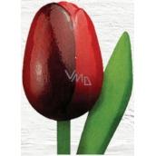 Bohemia Gifts Dřevěný tulipán tmavě červený 20 cm