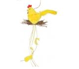 Slepička plyšová s hnízdem 25 cm na zavěšení 1 kus žlutá