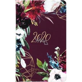 Albi Diář 2020 kapesní týdenní Bordo květiny 15,5 x 9,5 x 1,2 cm