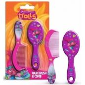 Trollové Kartáč a hřeben na vlasy pro děti 2 kusy