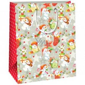 Ditipo Dárková papírová taška 26,4 x 13,6 x 32,7 cm šedá sněhuláci