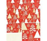 Nekupto Dárkový balicí papír 70 x 500 cm vánoční červený bílé, zlaté stromky