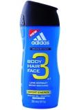 Adidas Sport Energy 3v1 Body Hair Face sprchový gel na tělo, vlasy a tvář pro muže 250 ml