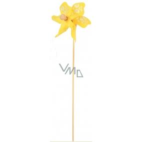 Větrník s průhledným vzorem žlutý 9 cm + špejle 1 kus