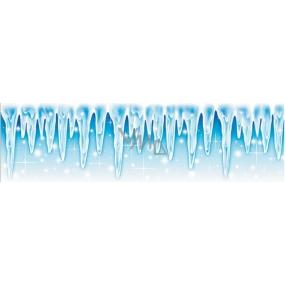 Room Decor Okenní fólie bez lepidla malý pruh z ledové kolekce rampouchy 45 x 12 cm