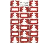 Arch Stromeček červený vánoční samolepky na dárky 20 etiket 1 arch 822