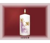 Lima Jubilejní 30 let svíčka bílá zdobená 70 x 150 mm 1 kus