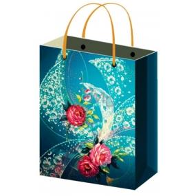 Taška Dárková celoroční tmavě modrá s růží S 15 x 12 x 5,5 cm