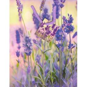 Nekupto Dárková papírová taška střední 23 x 18 x 10 cm fialové květy 1356 40 KFM
