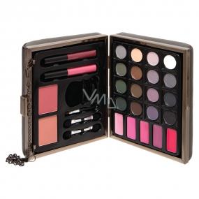 Body Collection stíny na oči 16 ks + lesk na rty 2 ks + líčka 2 kusy, kosmetická paletka - kabelka kosmetická taška