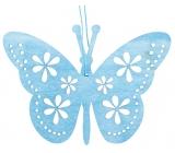 Motýl na zavěšení,dřevěný modrý 12 cm
