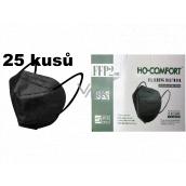 HO-Comfort Respirátor ústní ochranný 5-vrstvý FFP2 obličejová maska Černá 25 kusů