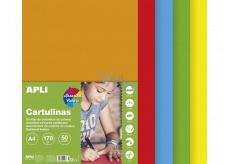 Apli Barevné papíry A4 mix pestrých barev 170 g 50 listů