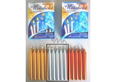 Romantické světlo Vánoční svíčky krabička hoření 90 minut metalická stříbrná 12 kusů