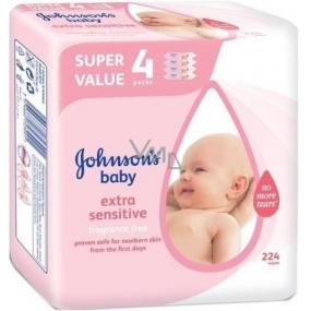 Johnsons Baby Extra Sensitive Vlhčené ubrousky 224 kusů