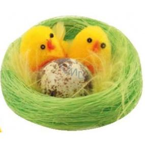 Kuřátka plyšová v zeleném hnízdě 6 cm 1 kus