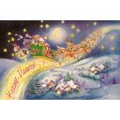 Nekupto Blahopřání Krásné Vánoce-Santa na saních, M