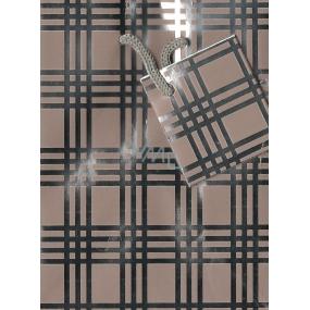 Nekupto Dárková papírová taška malá 051 02 GS béžovo stříbrná 14 x 11 x 6,5 cm