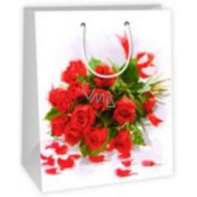 Ditipo Dárková papírová taška velká bílá - kytice růží 26,4 x 13,6 x 32,7 cm AB
