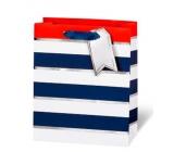 BSB Luxusní dárková papírová taška 23 x 19 x 9 cm Modro-bílé proužky LDT 392 - A5