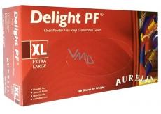 Aurelia Delight jednorázové vinylové rukavice bez pudru, bezbarvé velikost XL 100 kusů