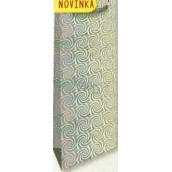 Nekupto Dárková papírová taška na láhev 33 x 10 x 9 cm Stříbrná hologramová 123 02 THLH