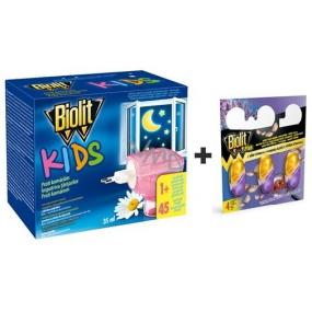 Biolit Kids Elektrický odpařovač a tekutá náplň 45 nocí proti komárům 35 ml + Biolit Plus M gel s vůní levandule háčky proti molům a roztočům 3 kusy