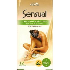 Joanna Sensual Aloe Vera voskové depilační náplasti na tělo 12 kusů a jemný olej 10 ml