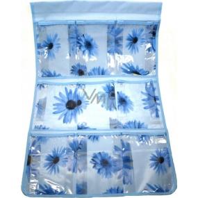 Kapsář do koupelny závěsný 705 modrý 59 x 35,5 cm 9 kapes