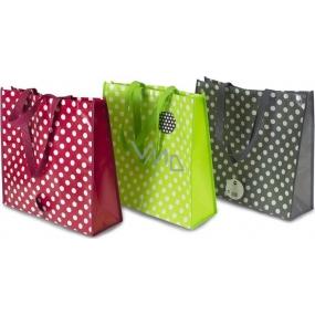 RSW Nákupní taška s potiskem Puntíky zelená 43 x 40 x 13 cm