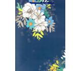 Ditipo Dárková papírová taška 26,4 x 32,5 x 13,5 cm modrá bílo modré květy