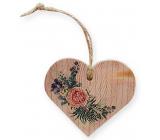 Bohemia Gifts Dřevěné dekorační srdce s potiskem Růže 7,5 cm