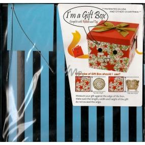Anděl Dárková krabička skládací s mašlí modrá černé pruhy 22 x 22 x 13 cm