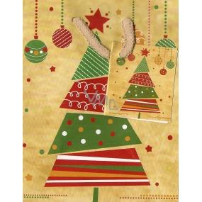 Nekupto Dárková papírová taška malá 14 x 11 x 6,5 cm okrová se stromkem 879 01 WBS