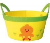 Košík z filcu žlutý s oranžovým kuřátkem 22 cm