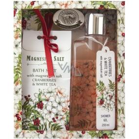 Bohemia Gifts & Cosmetics Bílý čaj a Brusinky a Magneziová sůl zvláčňující sprchový gel 200 ml + Koupelová sůl 150 g kosmetická sada
