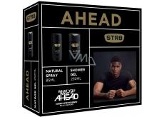 Str8 Ahead parfémovaný deodorant sklo pro muže 85 ml + sprchový gel 250 ml, kosmetická sada