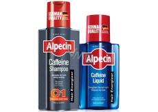 Alpecin Energizer Coffein Shampoo C1 šampon na vlasy 250 ml + Energizer Liquid Tonikum zvyšuje produktivitu vlasových kořínků 75 ml, duopack