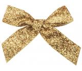 Mašle sametová zlatá třpytivá 10 cm 6 kusů