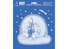 Arch Vánoční samolepka, okenní fólie bez lepidla Pasáček se dvěma ovečkami 20 x 23 cm