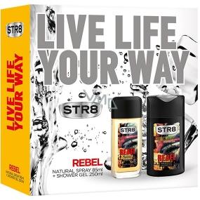 Str8 Rebel parfémovaný deodorant sklo pro muže 85 ml + sprchový gel 250 ml, kosmetická sada