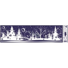 Okenní fólie bez lepidla zimní krajinka pruh stromy 45 x 12 cm