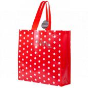 RSW Nákupní taška s potiskem Puntíky červená 43 x 40 x 13 cm