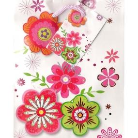 Nekupto Dárková papírová taška malá 14 x 11 x 6,5 cm bílá - barevné květy 1169 02 KFS