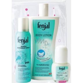 Fenjal Sensitive tělové mléko 400 ml + 24h deodorant sprej 150 ml + 24h kuličkový deodorant roll-on 50 ml, kosmetická sada
