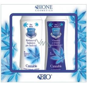 Bione Cosmetics for Men Cannabis Q10 vlasový a tělový sprchový gel 200 ml + krémový balzám po holení 200 ml, kosmetická sada